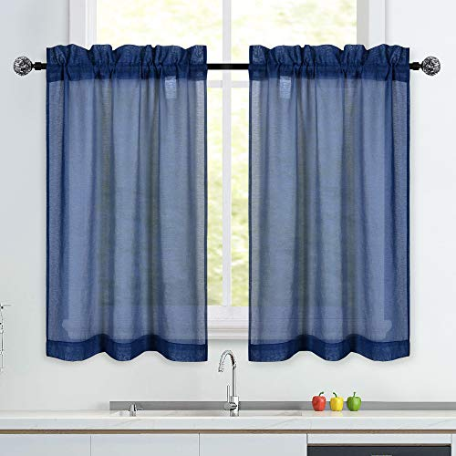 Navy Short Sheer Kitchen Curtains 36 inch Length Tier Curtains Rod Pocket Sheers Cafe Curtains Linen Like Privacy Semi Sheer Drapes Half Window Curtain for Basement Bathroom Small Windows 34X36 Inch