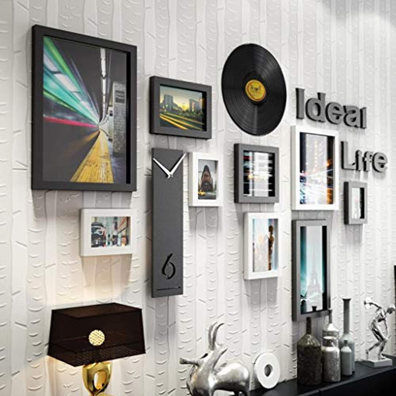 Jjek Moderne kreative Fotorahmenkombination der Fotowand, hlzerner Fotorahmen Schlafzimmerwohnzimmer des Filmdokumentationszeitreisenden oder Ganghintergrund Multi-Art (Farbe   Schwarz und wei)