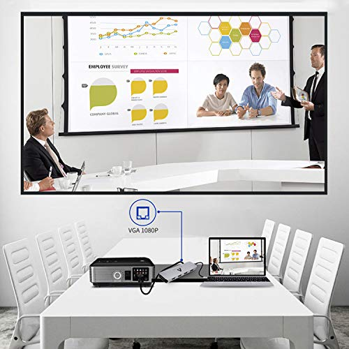 USB C Hub 10 in 1 USB C Adapter mit 4K HDMI, VGA, 4 USB 3.0/2.0 Anschlüsse, Gigablit Ethernet RJ45, SD/TF Kartenleser, Kompatibel mit MacBook Pro2016, 2017, 2018, 2019, Chromebook,XPS