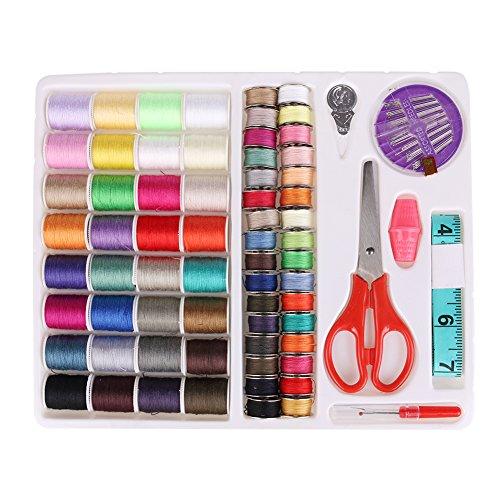 LOLPI Essential Home and DIY Kit de costura portátil de 64 colores para máquina de coser para viajeros, adultos, niños, principiantes, emergencia