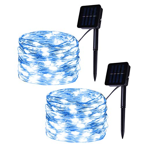 Set of 2 Solar Powered 100-LED String Lights, Blue Copper Wire Fairy Lights, Decoration Garden Lights, Solar Christmas Lights for Outdoor