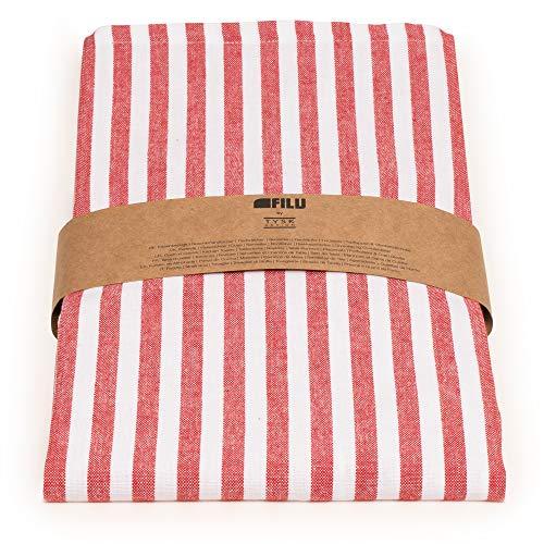 FILU Tischläufer 40 x 150 cm Rot/Weiß gestreift (Farbe und Größe wählbar) - hochwertig gefertigter Tischläufer aus 100{eaf8963917eb70a5c312be8d8d3753e5da32f55ff71c4583362f177e2757c89b} Baumwolle im skandinavischen Landhaus-Stil