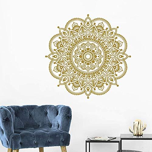 Mandala pegatinas decoración del hogar sala de estar estructura simétrica flores decoración de la pared calcomanías murales Boho A3 57x57cm