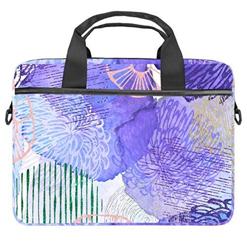 Shoulder Laptop Messenger Bag 15 inch Computer Handbag Case Cover Briefcases for Men Women Abstract Watercolor Purple Floral Pattern
