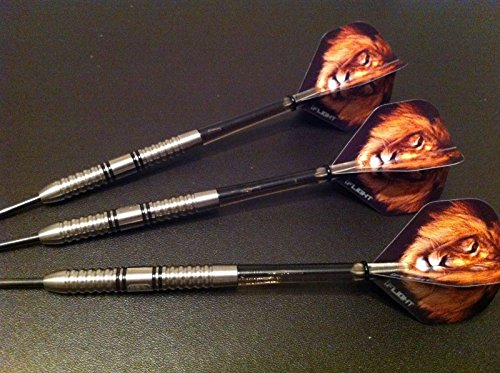 29 g 95% Wolfram Elite Lion Darts Set, Supergrip Stiele, Löwe Flights