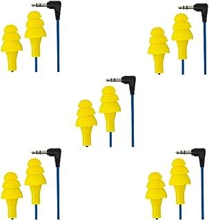 Plugfones Basic Earplug Headphones Blue Cable/Yellow Plugs (5 Pack)