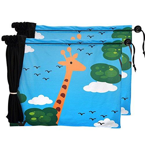 iTemer iTmer Auto-Sonnentuch UV Schutz Seitenscheibe Vorhänge Einfache Installation Cartoon Tier Muster Saugnapf