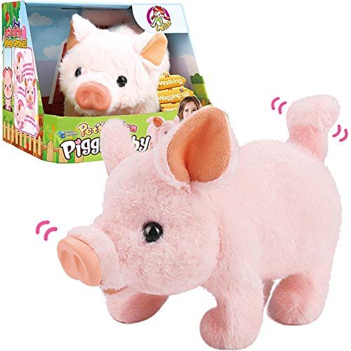 Liberty Imports Plush Pigy Pet Piggy Electronic Toy Piglet - Walking, Wag Tail, Wiggle Nose, Oink Sounds for Kids
