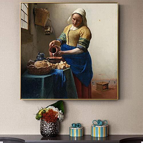 wZUN Carteles e Impresiones de Pared Réplicas de Famosos Cuadros de Lienzo Europeos Decorados en el salón 60x60cm