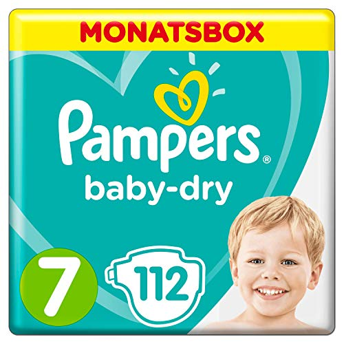 Pampers Baby-Dry Windeln, Gr. 7, 15kg+, Monatsbox (1 x 112 Windeln)