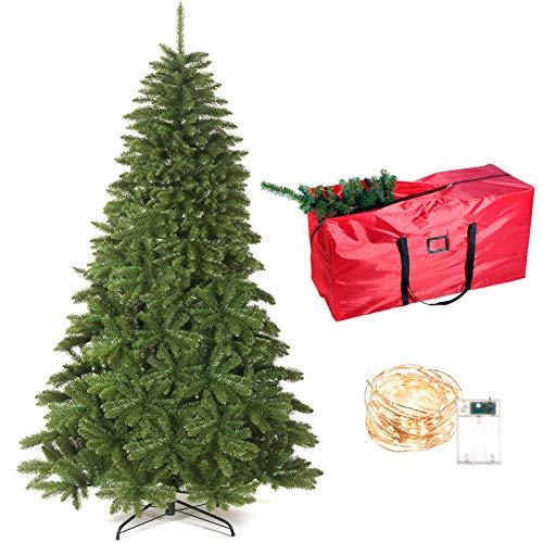 HOTOOLME Weihnachtsbaum künstlich 180cm mit 10m LED-Licht und 1000 Spitzen, Tannenbaum mit Schnellaufbau Klappsystem inkl. Metall Christbaum Ständer