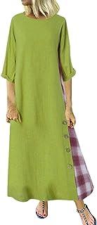 Suces casual patchwork grote maten maxi-jurk 3/4 mouwen vloerlange jurk lange strandjurk met knopen elegante cocktailjurk ...