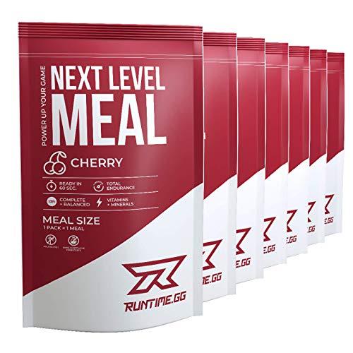 Runtime Next Level Meal Cherry - vollwertiger Mahlzeitersatz für langanhaltende Sättigung, Energie, Konzentration und Leistungsfähigkeit, mit Vitaminen und Nährstoffen, 7 x 150g