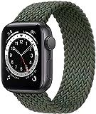 Fengyiyuda Correa Solo Loop Trenzada Compatible con Apple Watch 41/45/38/40/42/44mm,Soft Sport Reemplazo Elástica de Strap Nylon Compatible con iWatch Serie 7/6/5/4/3/2/1/SE,Verde Inverness,38-5