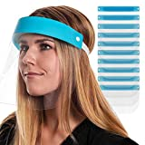 Salon World Safety Face Shields (Pack of 10) - Ultra Clear Protective Full Face Shields to Protect Eyes, Nose and Mouth - Anti-Fog PET Plastic, Elastic Headband - Sanitary Droplet Splash Guard Cover