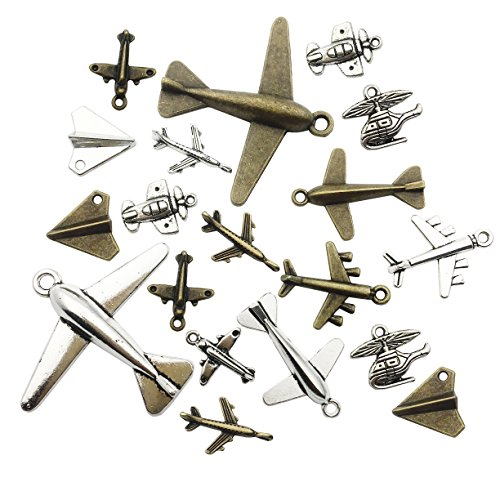 Aircraft Airplane Charm-100g(40-45pcs) Craft Supplies Charms Pendants for Crafting, Jewelry Findings Making Accessory for DIY Necklace Bracelet (M049)
