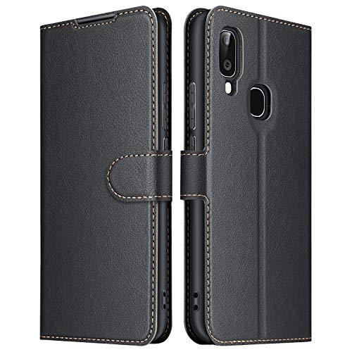 ELESNOW Hülle für Samsung Galaxy A20e, Premium Leder Flip Wallet Schutzhülle Tasche Handyhülle für Samsung Galaxy A20e (Schwarz)