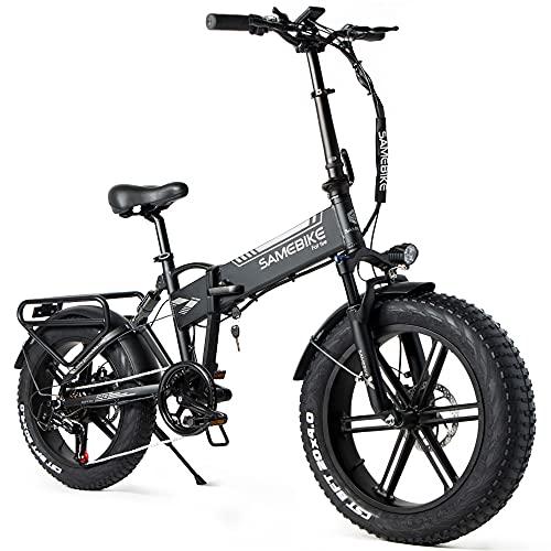 SAMEBIKE Mountain bike elettrica pieghevole da 20 pollici, 500 W, 48 V, 10 Ah, pneumatici per...