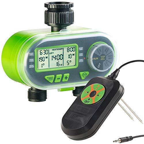 Royal Gardineer Bewässerungsuhr: Set aus Bewässerungscomputer und Regen & Boden-Feuchtigkeitsmesser (Feuchtigkeitssensor)