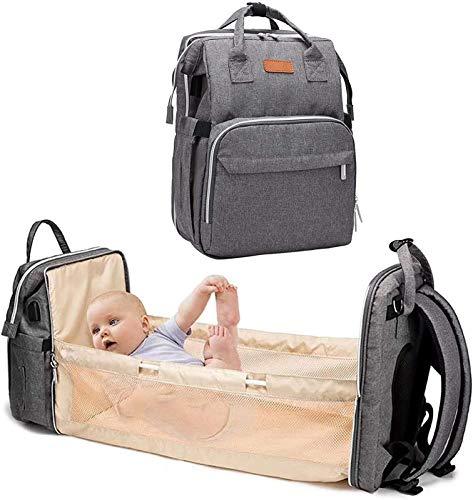 Gungungun La Última Versión del Pañal Multifuncional para Bebé con Puerto USB, Pañal Impermeable, Mochila de Gran Capacidad, con Cama, con Cambiador y Portabebés (Color : Gray)