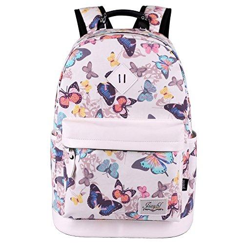 Mocha weir JIAYBL Laptop Taschen Schultern Kinder Schultaschen Rucksack Hochschule Mädchen Canvas Pack reisen (Schmetterling)