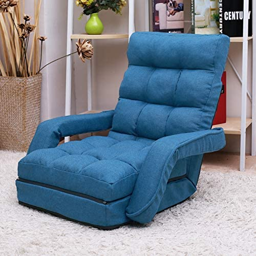 Indoor Chaise Lounge Sofa Gaming Floor Chair for Bedroom Folding 6 Position Lazy Couch with product image