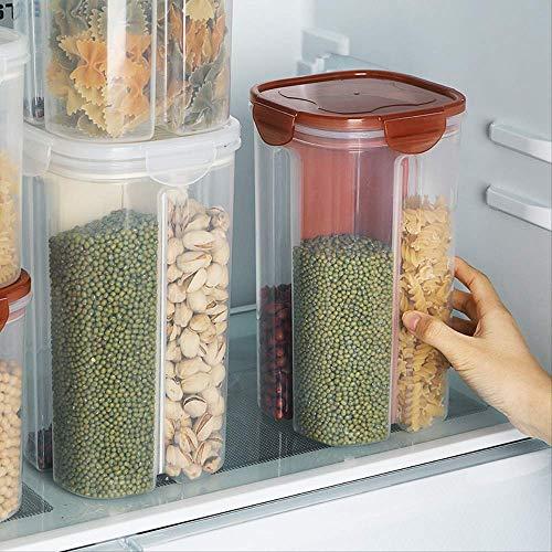 Taoke 2 / 4Grids Rotating Plastique céréales Distributeur Boîte de Rangement de Cuisine Contenant à Grains de Stockage de Cas Gruau Grains Bouteille de Stockage 3000ml Vert 8bayfa
