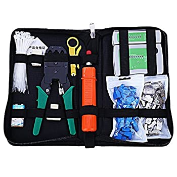 Zoostliss Portable Ethernet Cable Tester Kit Crimper Plug Crimping Tool Set Punch Down for for RJ45/11/12 Cat5/5e with Connector Accessories
