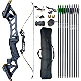 D&Q Archery Recurve Bow and Arrow Set for Adults,30 35 40 45 50 55 60 65 70lb Aluminum Alloy Riser Hunting Takedown Bow for Shooting Practice Competition Right Hand