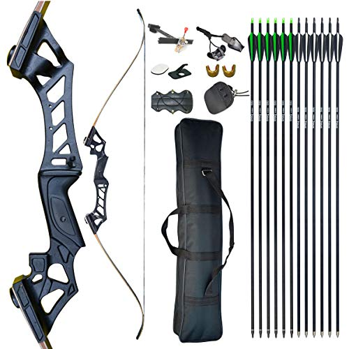 D&Q Recurve Bow and Arrow for Adults Set 30-70lb Aluminum Alloy Riser Archery Recurve Bows Takedown Beginner Bow for Practice Competition Right Hand
