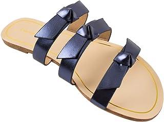 Chumbak Metallic Knot Blue Sliders for Women