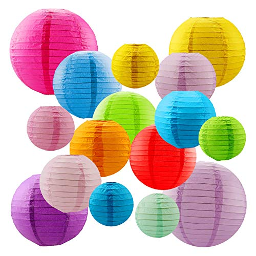 Newthinking 16 PCS Paper Lanterns, Round Colorful Paper Lantern with Wire Ribbing, Different Sized Colorful Lampshades, 4' 6' 8' 10' Paper Lampshades for Weddings, Parties, Celebrations, Patios