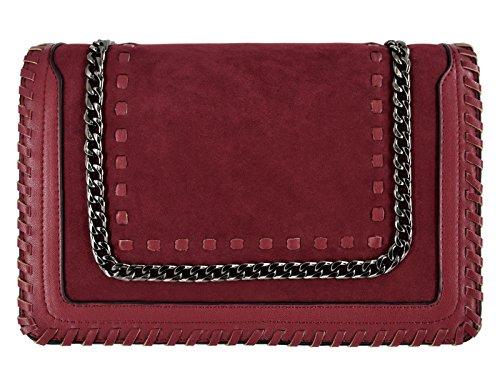 CRAZYCHIC - Bolso Bandolera Cadena Mujer - Bolsos de Hombro Cruzado Cuero PU Señora - Mensajero Messenger Crossbody Bag - Bolso de Mano Bordado Gamuza Piel - Clutch Pochette Moda - Rojo Burdeos