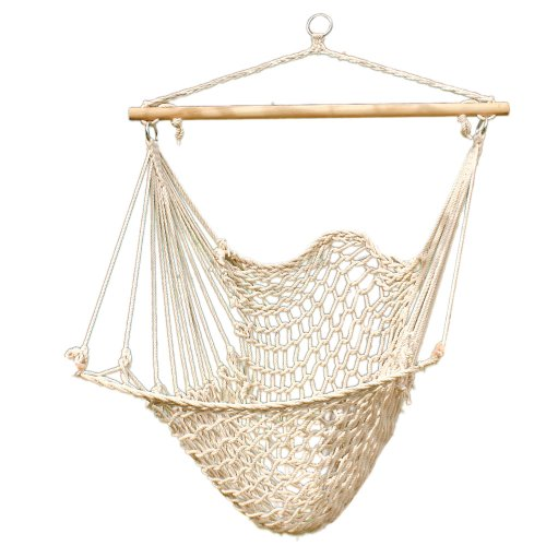 Z ZTDM Hanging Rope Hammock Chair, Large Brazilian Hammock Net Chair Porch Chair Swing Seat for Indoor Outdoor Patio Lawn Garden Backyard - Max. 330 Lbs (Beige)