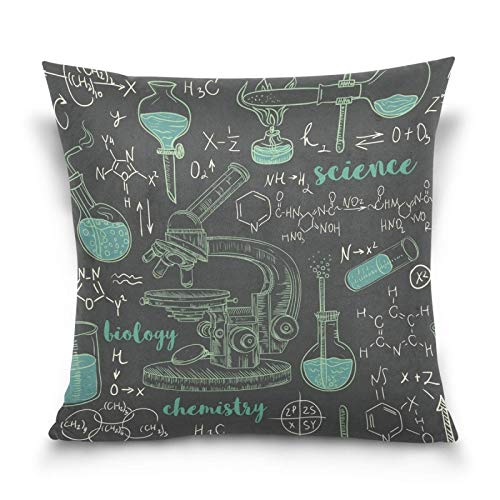 Decorative Pillow Covers Chemistry Laboratory Microscope Art Square Cushion Cover Throw Pillow Cases Home Decor for Sofa Car Bedroom