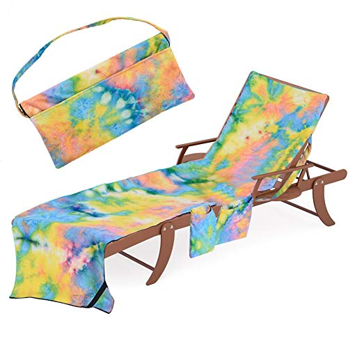 Beach Chair Lounge Towel Cover - Chaise Lounge Slipcover with Side-Pockets Soft Drys Fast, Microfiber Pool Towel Patio Accessories for Patio Lounger Sun Pool Sunbathing Beach Hotel (Tie-Dye Yellow)