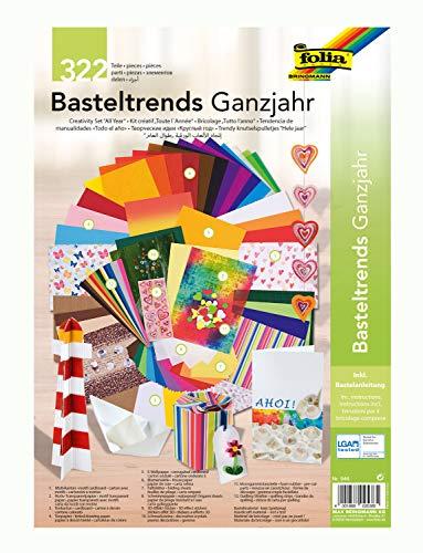 folia 946 - Basteltrends Ganzjahr, 322 Teile - Kreativset für Kinder und Erwachsene mit verschiedenen Trendmaterialien