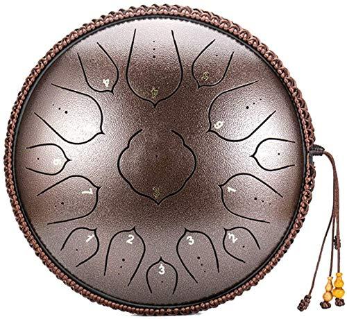 Tambor de lengua de acero tambor de acero de mano Lengüeta del tambor de acero de 14 pulgadas de 15 notas, con la bolsa de baqueta Instrumento D clave for la educación musical Yoga Meditationm ideal f