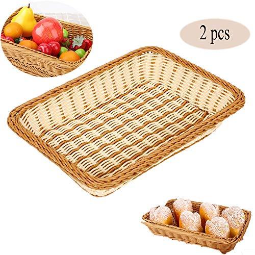 MRMRMNR 2 Piezas Canasta de Prueba de Pan, Cesta para Pan de Mimbre Tejido Largo para Alimentos Frutas Verduras Servicio de Restaurante Color marrón Miel para Restaurante Cocina