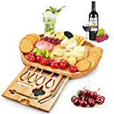 Duerer Cheese Board Set, Meat and Cheese Tray With Cutlery In Slide-Out Drawer - Bamboo Charcuterie...