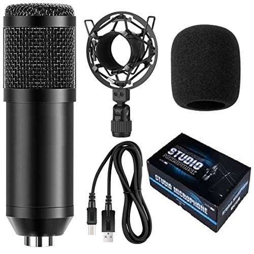 Techtest Bm 800 Usb Microphone Studio Mic 192khz/24bit Plug & Play Computer Cardioid Mic Podcast Condenser Microphone for Pc Karaoke, Youtube, Gaming Recording
