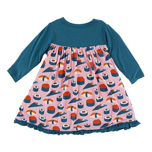 KicKee Pants Little Girls Print Classic Long Sleeve Swing Dress (2T, Lotus Sushi)