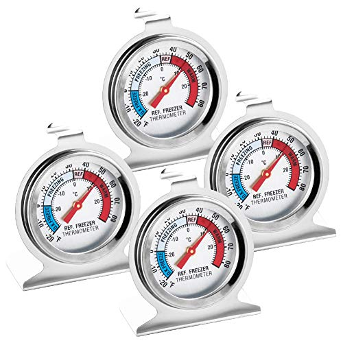 WXJ13 4 Pack Refrigerator Freezer Thermometer Classic Series Large Dial Fridge Thermometer