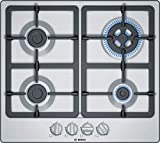Bosch Serie 4 PGH6B5B90 hobs Acero inoxidable Integrado Encimera de gas - Placa (Acero inoxidable, Integrado, Encimera de gas, Acero inoxidable, 1000 W, Alrededor)