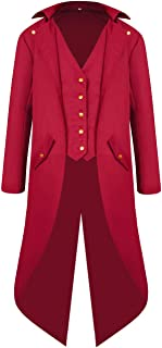 Men's Steampunk Vintage Red Tailcoat Jacket Gothic Victorian Medieval Halloween Costume Coat