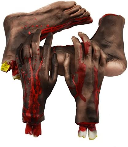 New Halloween Horror Chop Shop Bloody Broken Severed Fingers Props Decoration N3