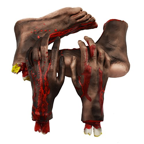 XONOR Halloween cortó Las Manos los pies Conjunto de Piezas de Cuerpo Sangriento y Aterrador Decoraciones de Accesorios de Halloween, 4 Piezas (pies y Manos) (Negro)