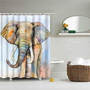 Huge Elephant Shower Curtain Fabric Shower Curtain Home Bathroom Decoration with 12 Hooks (Style7,180x180cm(70.8''x 70.8''))