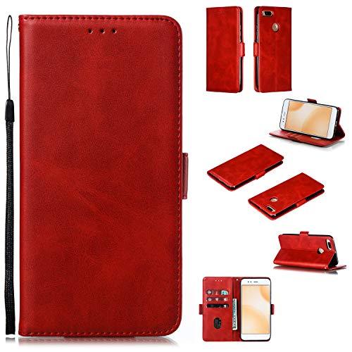 Snow Color Xiaomi Mi 5X /Xiaomi Mi A1 Hülle, Premium Leder Tasche Flip Wallet Case [Standfunktion] [Kartenfächern] PU-Leder Schutzhülle Brieftasche Handyhülle für Xiaomi Mi5X /MiA1 - COYKB010584 Rot