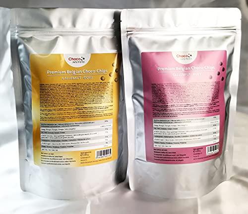 Callebaut Ruby- und Gold-Schokolade, jeweils 1 kg, Schoko-Chips, insgesamt 2 kg, im wiederverschließbaren Standbeutel